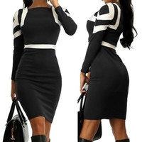 Black Square Print Long Sleeve Bodycon Midi Dress