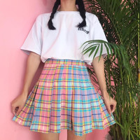 Ombre Gingham Skirt by Mogustash