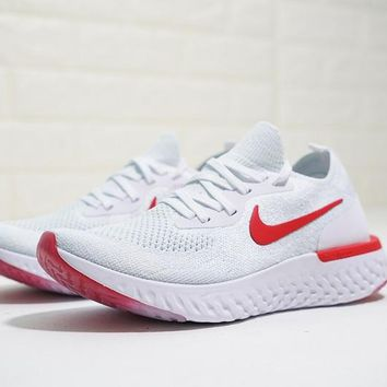 """Nike Epic React Flyknit """"Red&White"""" Runnning Shoes"""