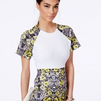 Missguided - Aldara Scuba Playsuit With Floral Contrast
