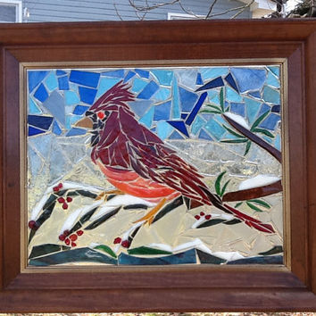 Stained Glass Red Cardinal Bird Window Art Sun Catcher, Christmas Gift, Bird Collector, Bird Watching, Home Decor, Birthday Gift, Glass Art