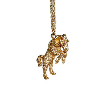 Gold Ram Necklace - Zodiac Necklace, Ram Pendant, Aries Necklace, Gold Tone Jewelry, Zodiac Pendant, Zodiac Jewelry, Aries Pendant