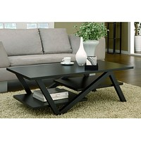 Modern Z-Shape Coffee Table in Black Wood Finish