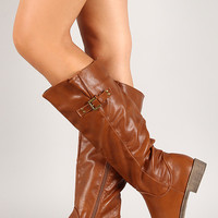 Leatherette Buckle Riding Knee High Boot