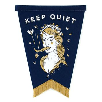 Keep Quiet Pennant - Navy Blue