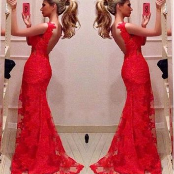 LMFUG3 Red Bodycon Mermaid Evening Bridal Party Gowns Long Prom Dresses Custom = 1932476484