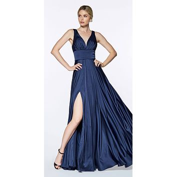Cinderella Divine 7469 Sexy Long Prom Dress Navy Blue Evening Satin Gown