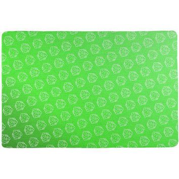 DCCKU3R D20 Gamer Critical Hit and Fumble Green Pattern All Over Game Dice Mat