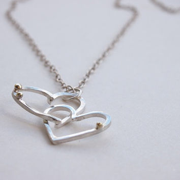 Heart necklace,handmade heart pendant, two heart necklace, silver and bronze necklace, hammered necklace, womens jewelry