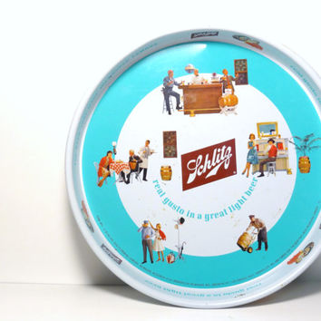 1960s Vintage Schlitz Metal Beer Tray Retro Wall Hanging Man Cave Sign Man Stuff