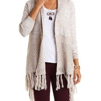 Combo Cropped Fringe Cardigan Sweater by Charlotte Russe