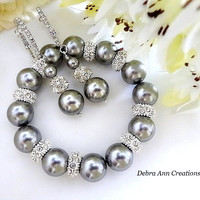 Swarovski Grey Pearl Bracelet Earring Set Grey Wedding Bridal Bridesmaid Jewelry Set Chunky Grey Pearl Bracelet Set Mother of Bride Groom