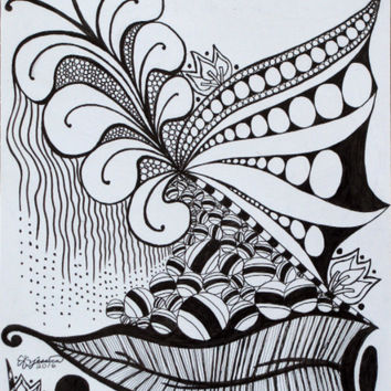Nature Zen Doodle - Poster of Ink Fine Art Drawing
