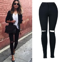 Women Slim Pencil Trousers Cool Ripped Knee Cut Skinny Long Jeans Pants