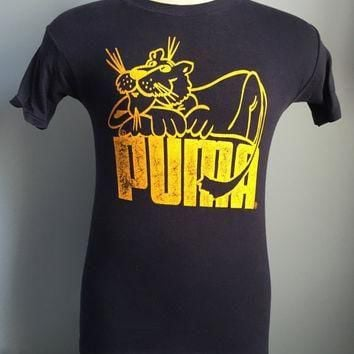 70s 80s Vintage Puma shoes athletic sports T-Shirt - SMALL