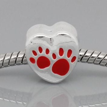 Red Love Heart Dog Paws Charm Bead