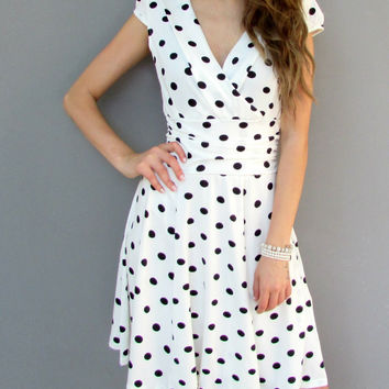 Sexy Career Women's High Waist Slim Short Sleeve V Neck Polka Dot Dress
