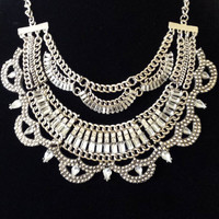 Statement bib chunky chain choker collar crystal silver charm pendant necklace