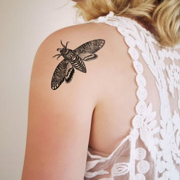 Moth temporary tattoo / Halloween temporary tattoo / Halloween party gift / Halloween gift idea / moth tattoo / creepy temporary tattoo