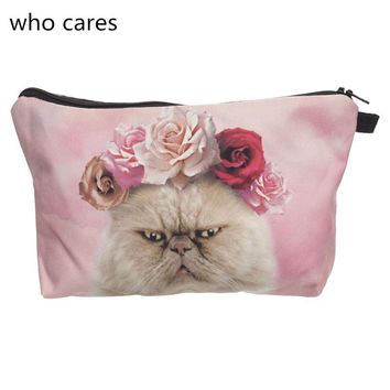 Who Cares Cosmetic Bag Women Neceser Portable Make Up Bag 3D Print Pink Roses Cat Organizer Bolsa feminina Travel Toiletry Bag