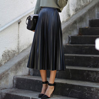 Black High Waist Electric Pleated Midi Skirt
