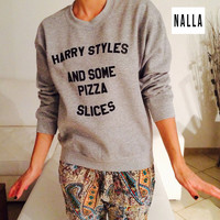 Harry styles and some pizza slices sweatshirt gray crewneck fangirls