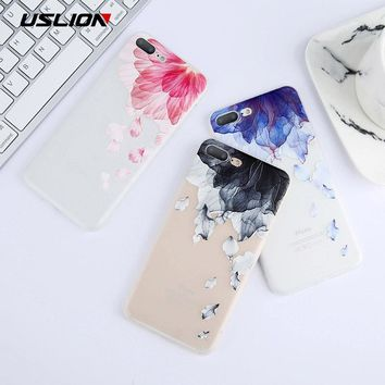 USLION 3D Relief Leaf Print Phone Case For iPhone X Case For iPhone 6 6s 7 8 Plus Flower Soft TPU Back Cover Cases Coque