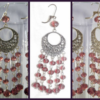 Dusty Plum Swarovski Earrings, Silver Plated Chandelier Earrings, Long Earrings, Women's Jewelry, Ready to ship