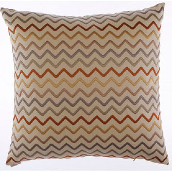 Canaan Company 2134 Zig Zag Embroidered Linen 24 x 24 Pillow