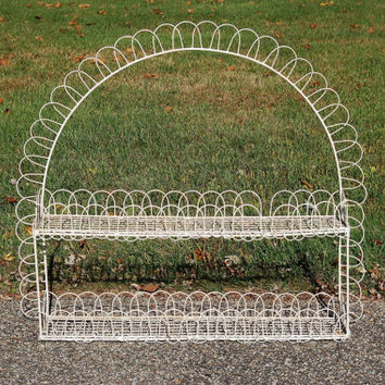 Victorian Wire Plant Stand, Shabby Chic Arched White Wire Metal Two Tier Shelf Planter, Cottage Sunroom, Porch Decor