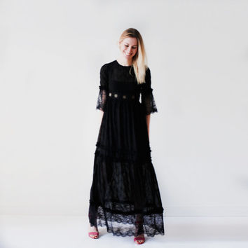 Penny lover lace maxi dress\festival maxi dress\summer spring dress\black lace dress\bohemian\boho\romantic dress\long black lace dress