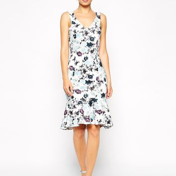 ASOS Pencil Dress in Scuba with Fluted Hem in Floral Print