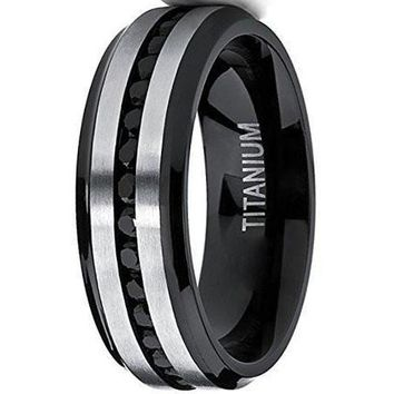 CERTIFIED 7mm Two Tone Black Titanium Men's Eternity Engagement Wedding Band Ring W/ Black Cubic Zirconia