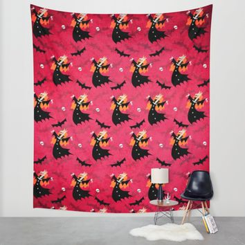 Unicorn Vampire Pattern Wall Tapestry by That's So Unicorny