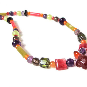 Multi colored gemstone and turtle pendant necklace - mixed stone necklace - dyed jade, amethyst & carnelian necklace by Sparkle City Jewelry