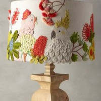 Embroidered Cockatoo Lamp Shade by Anthropologie in Multi Size: One Size Lighting