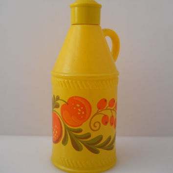 Avon Pennsylvania Dutch Yellow Painted Floral Fruit Bottle c 1970s