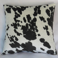 """Black & White Faux Cowhide Pillow Cover, 17"""" Square, Spotted Hide, Cowboy Western Decor, Zipper Cover Only, Ready Ship"""