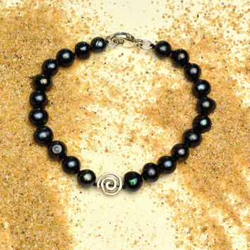 Blue Black Pearl Bracelet with Artisan Spiral