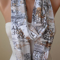 New - Infinty - Circle -  Loop Scarf - White - Written Scarf - Cotton Jersey