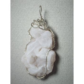 Druzy Quartz Chalcedony Freeform Pendant Wire Wrapped .925 Sterling Silver