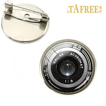 TAFREE Vintage Black Camera Lens picture badge brooch pins Photographer Silver Plated Jewelry Gift Glass Cabochon brooches NS054