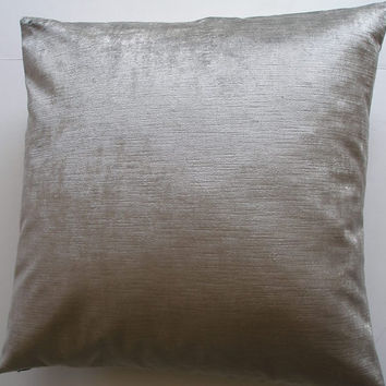 Shimmery Silver Velvet Throw Pillow Cover -20 x 20- Handmade - Robert Allen Designer Velvet Fabric- July Finds- August Trends- Summer Gifts