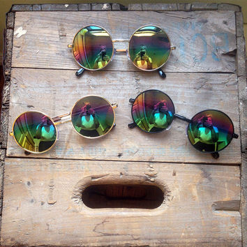 Rainbow Mirror Sunglasses Oversized Circle Hippie Glasses - Lennon