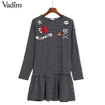 women flower skull embroidery patch striped dress pleated ruffles letters long sleeve autumn cute dresses vestidos QZ2739