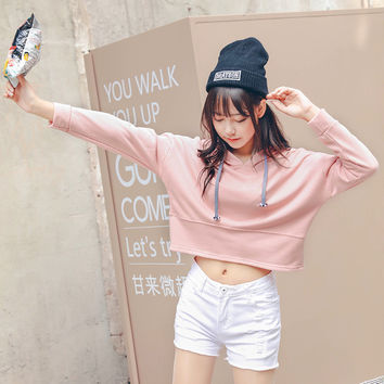 Autumn Sportswear Women Pink Cropped Hoodie Women's Long Sleeve Sweatshirt Womens Tumblr Kawaii Harajuku Tie Collar Pullovers