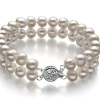 PearlsOnly - White 6-7mm A Quality Freshwater Cultured Pearl Bracelet