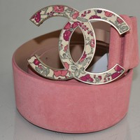 "NEW CHANEL 2"" Wide Suede Belt CC LOGO Matte Gold Buckle Pink Peach Flowers 95 38"