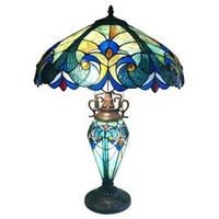 Chloe Lighting Tiffany Style Victorian Double Lit Table Lamp with 30 Cabochons