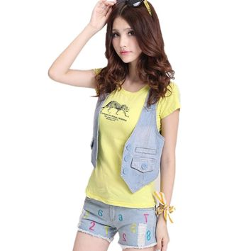 hot selling summer ladies vest sleeveless women denim vest female jean jacket colete feminino gilet